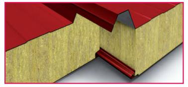 Panel de techo lana de roca con resistencia al fuego rei for Panel lana de roca